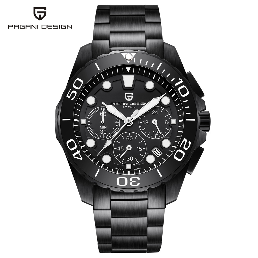 PAGANI DESIGN Top Luxury Brand Military Watch Men Chronograph Stainless Steel Quartz Wristwatches 30M Water Resistant Clock Male цена