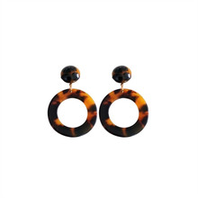 Temperament contracted exaggerated fashion personality acetate plate round stud earrings female