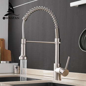 Kitchen Faucets Brush Brass Faucets for Kitchen Sink  Single Lever Pull Out Spring Spout Mixers Tap Hot Cold Water Crane 9009