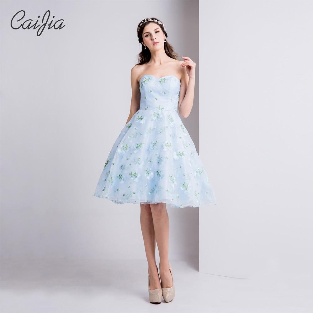 Caijia 2017 Sky Blue Liebsten Natürliche Kurzes Kleid Realen Bilder ...