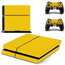 Pure Yellow Vinyl Decal Design Skin PS4 Stickers For Play Station 4 Console System Plus And 2PCS Decals Skins Of Controller