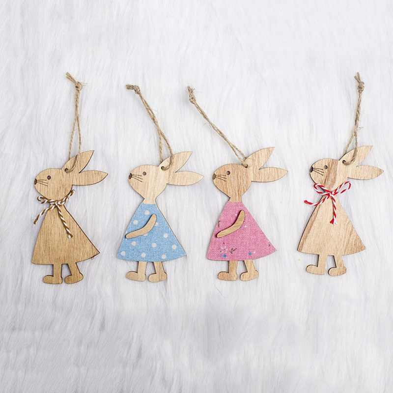 4 Styles Cute Easter Rabbit  Wooden Decoration DIY Wood Crafts Easter Ornaments Party Supplies