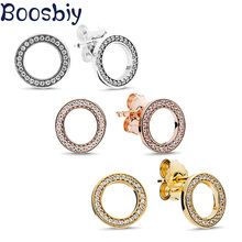 Boosbiy High Quality Luxury European Style Brand Stud Earrings Elegant For Women Girls Jewelry Gift