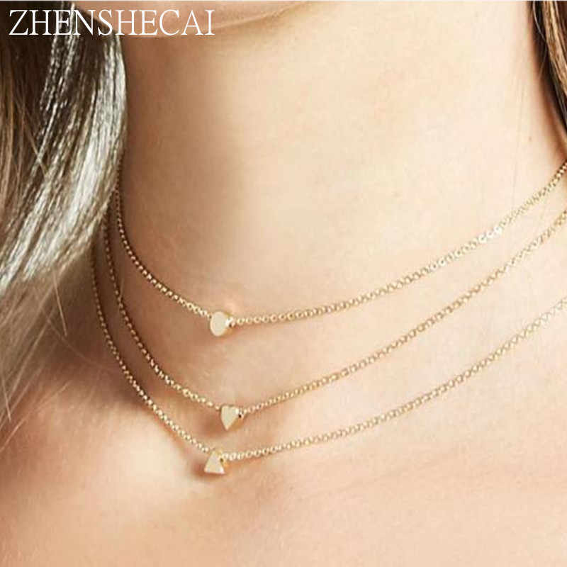 Đáng yêu Choker Necklaces Đối Với Phụ Nữ Tim Mặt Dây Chuyền Hình Học Tuyên Bố Collares Vòng Cổ Bijoux Đơn Giản Chuỗi Vòng Cổ Cho các Cô Gái x271