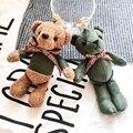 Fashion 17cm Plush Teddy Bear Keychain Metal Keyring Creative Lady Keychain Cute Cartoon Bear Bag Pendant Charm Girls Gifts