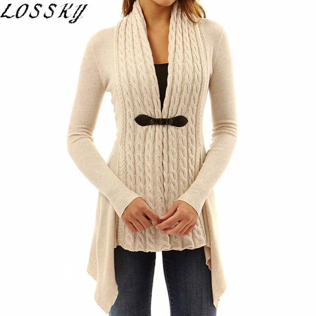 5c8ff5e608 2018 LOSSKY Autumn winter knitted Cardigan casual v neck long sleeve  irregular women sweater tops slim Buckle long coat sweaters