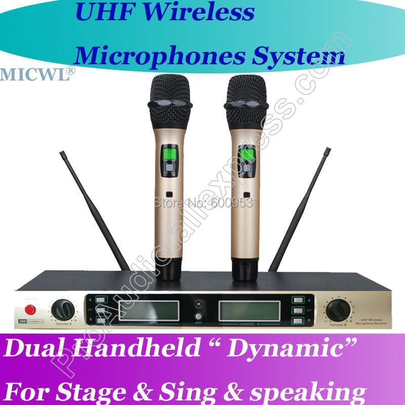 MICWL W200 200 Channel Wireless Handheld Microphone System - Golden ColorMICWL W200 200 Channel Wireless Handheld Microphone System - Golden Color