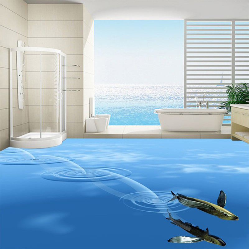 Custom Photo Floor Wallpaper 3D Stereoscopic Deep Sea Fish PVC Self  Adhesive Bathroom Waterproof Home Decoration. Plastic Wall Coverings For Bathrooms
