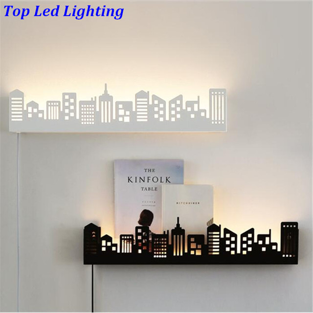 Creative Fahion Nordic Carved Iron Acryl Shelf Led Wall lamp for Children's Room Living Room Bedroom Aisle Deco Light1241