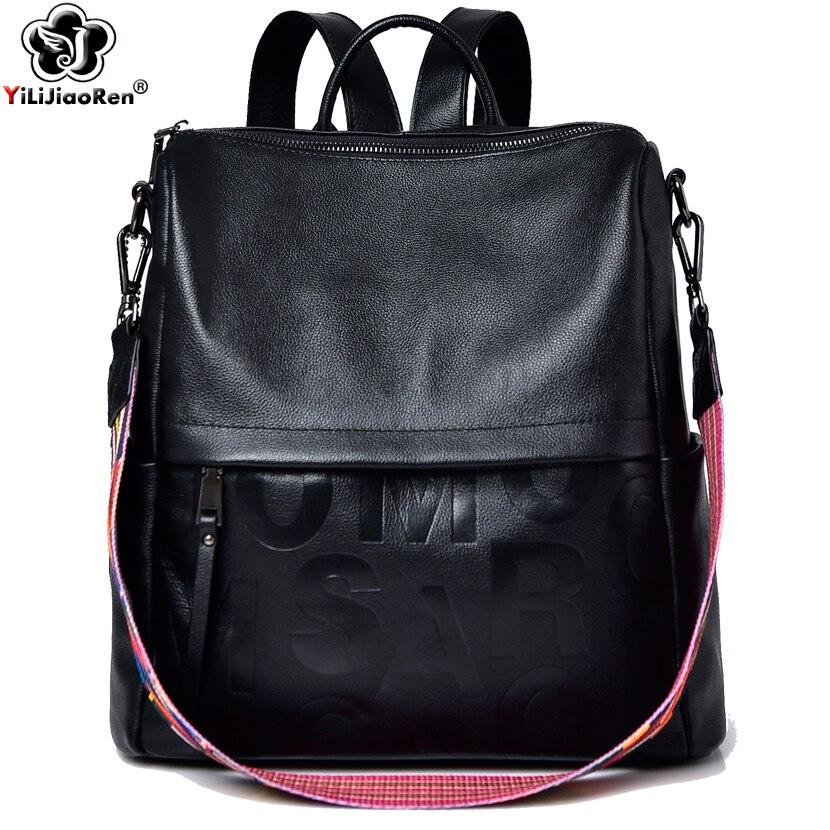 Bandoulière Sac De Bookbag Cuir Dos Sacs Capacité Simple En Célèbre Black1 Voyage Marque Cartable black2 Grande Femmes Pour Les À Y5ZqBRw