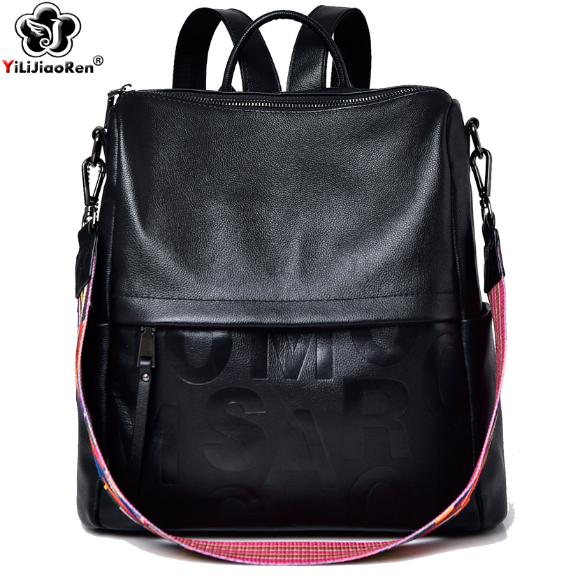 Fashion Real Leather Backpack Genuine Leather Backpack Female Large Capacity School Bag Simple Shoulder Bags For Women Mochila