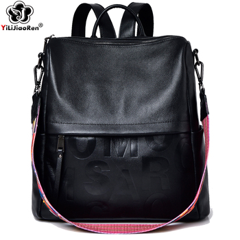 Fashion Real Leather Backpack Genuine Leather backpack Female Large Capacity School Bag Simple Shoulder Bags for Women Mochila fashion genuine leather bag women weaving style bags girls school bags zipper shoulder women s back pack girls bag mochila