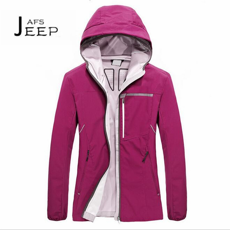 JI PU Pink/Black Womens Autumn Waterproof Hooded Jacket,Solid Mans Breathe Cardigan Professional excursionismo windbreaker