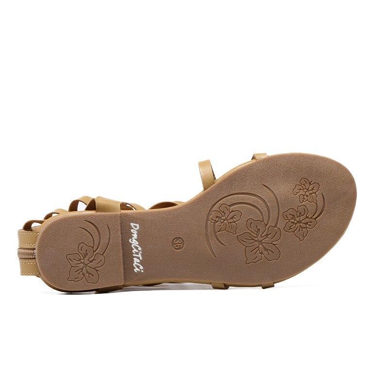 La Hasta 40 Tallas Para Negro marrón Sandalias Con Cierre Cremallera Roma Mujer Sexis Rodilla Dongcitaci Planas Nuevas 35 Gladiador De 6t6qxaI