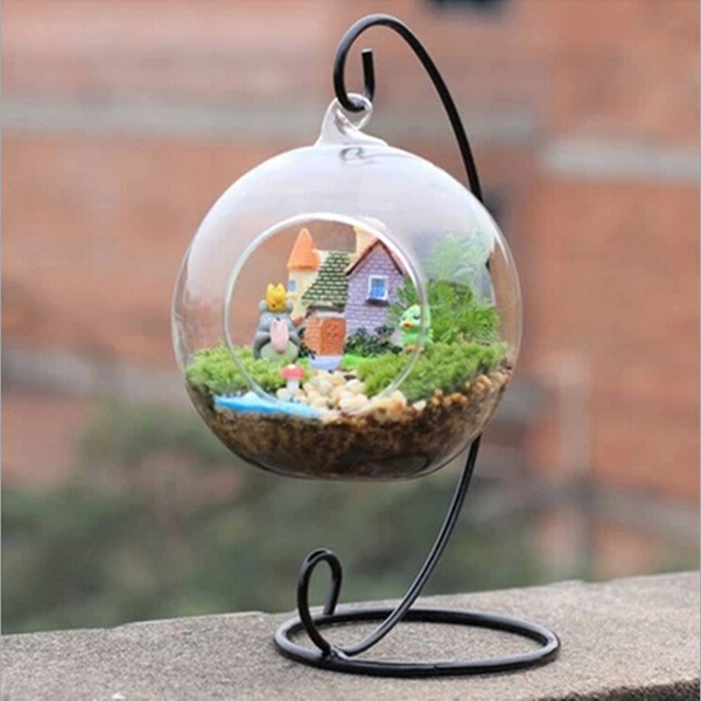 1PC Hanging Holder Crystal Terrarium Container Without Glass Ball Vase Pot Iron Stand Holder Decoration Home Decor 2