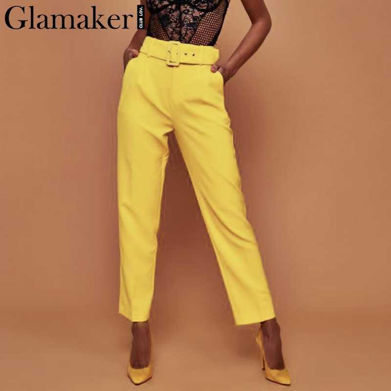 Glamaker Белые Повседневные брюки с пряжкой женские брюки женские свободные пляжные брюки с высокой талией сексуальные модные брюки с поясом