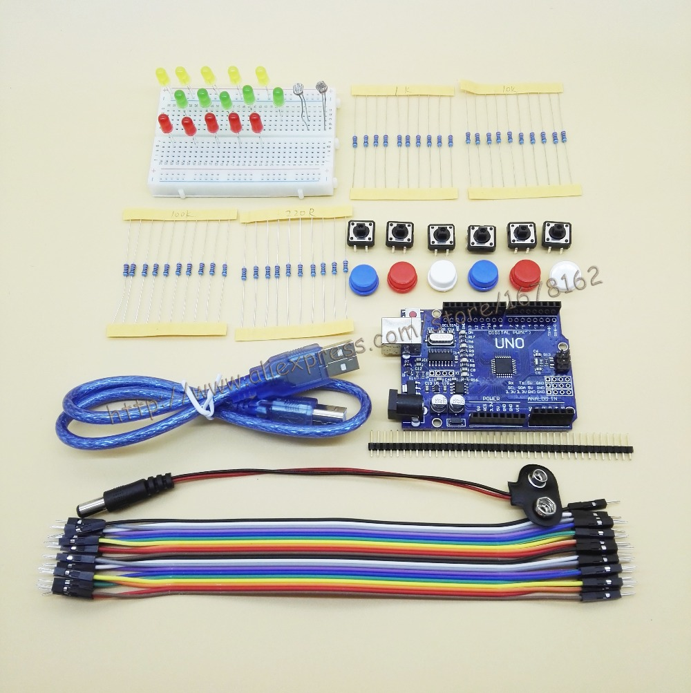 Starter Kit Uno R3 Mini Breadboard Led Junper Wire Button For Wiring Arduino Compatile In Integrated Circuits From Electronic Components Supplies On