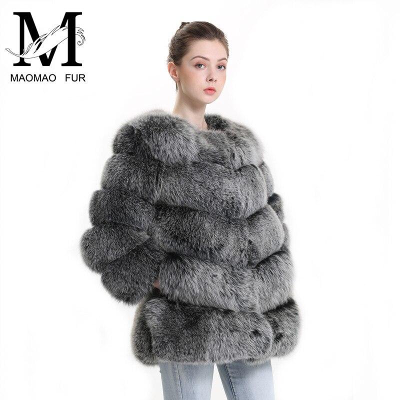 Inverno Reale della Pelliccia di Fox Cappotto di Modo Delle Donne Genuine Giacca Pelliccia di Volpe Femminile Soffici Completa Pelt Vestiti Delle Signore Cappotto di Pelliccia Naturale per Le Donne