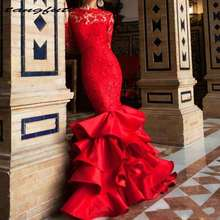 tangfuti Sexy Red Mermaid Prom Dresses Sweep Train