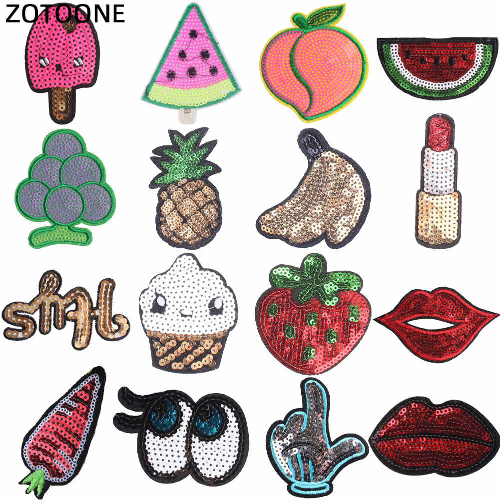 ZOTOONE Stranger Things Iron on Letter Eye lentejuelas parches para ropa bordado Diy rayas ropa parche pegatinas G