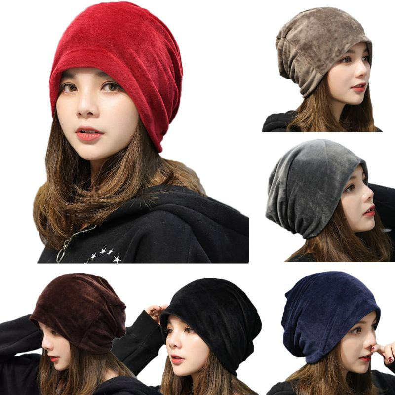 EY Women Winter Thickened Velvet Slouchy Hat Solid Color Ear Warmer Baggy Hip Hop Lengthened Warm   Skullies     Beanie