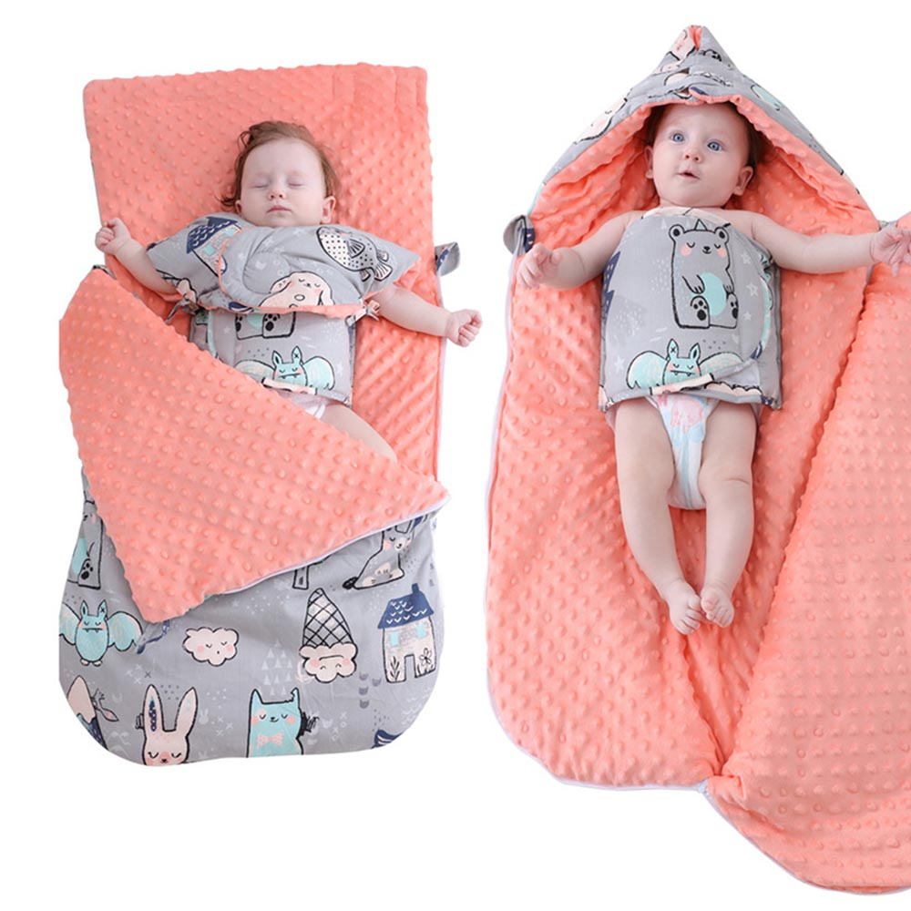 Baby Blankets Newborn Envelope Baby Stroller Swaddling Wrap Infant Kids Sleeping Bag Cotton Warm Thicken Bedding Quilt Blanket