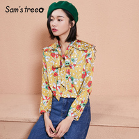 Samstree Autumn Female Blouses Flower Print Ruffles Loose Women Shirts Bowknot Back Collar Long Sleeve Ladies Tops 2 Color