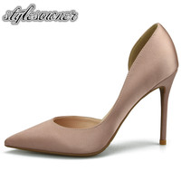 Stylesowner 2018 Hot Selling Hollow out Silk High Heels Woman Single Shoes Solid Color Thin Heel Pumps Party Shoes Sexy Stiletto