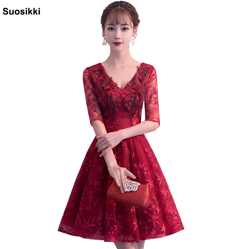 New Arrival summer   Cocktail     Dresses   Women Cheap A-line Lace half Sleeve pearls Plus Size Modest formal Party   Dresses   evening