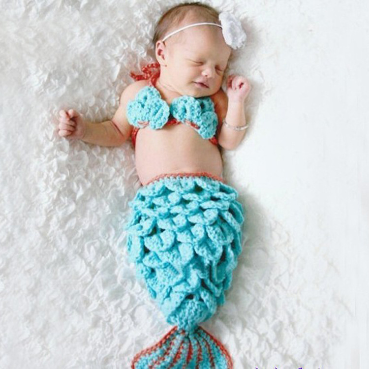 Baby Anime cosplay Mermaid Cosplay costume A cute two-piece mermaid costume set to take pictures of the baby