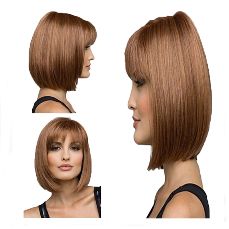 Image 5 - HAIRJOY Women Synthetic Wigs Brown Short Straight Bob Hairstyle  Heat Resistant Full Hair Wig  Freeshipping-in Synthetic None-Lace  Wigs from Hair Extensions & Wigs