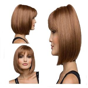Image 5 - Peruca de cabelo curto reta bob peruca de cabelo completo resistente ao calor freeshipping
