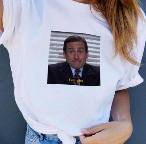 f9a16cb57 HAHAYULE-JBH The Office Michael Scott I Am Alive Quotes Funny T-Shirt Unisex