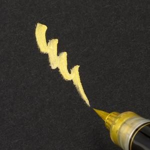 Image 5 - Pentel XGFH X Metal renk altın fırça kalem yumuşak kafa kalem yazma İmza düğün imza