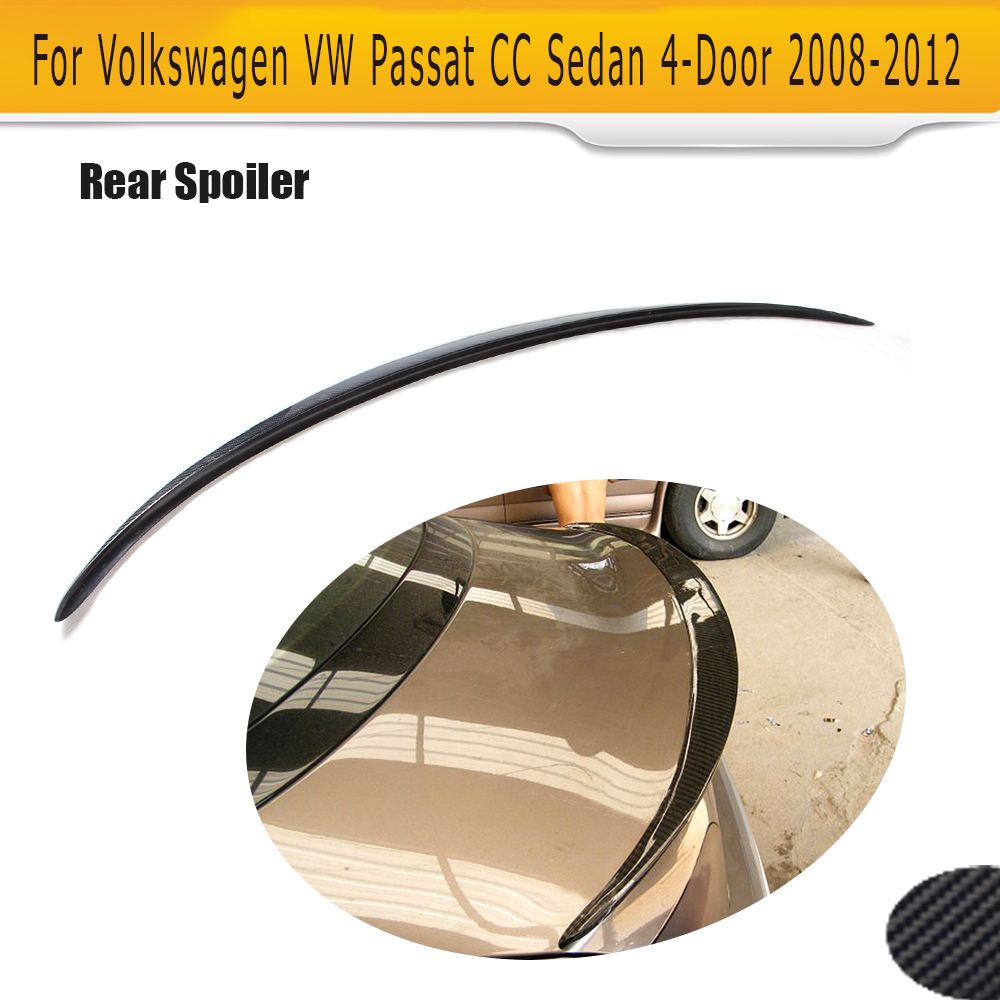 цена на Carbon Fiber Car Rear Trunk Spoiler Boot Lip Wing for Volkswagen VW Passat CC Sedan 4 Door 2008 - 2012 V style