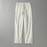 Big size men's linen solid Full Length Pants plus size casual male Chinese style Drawstring loose Haren Wide leg pants 160kg
