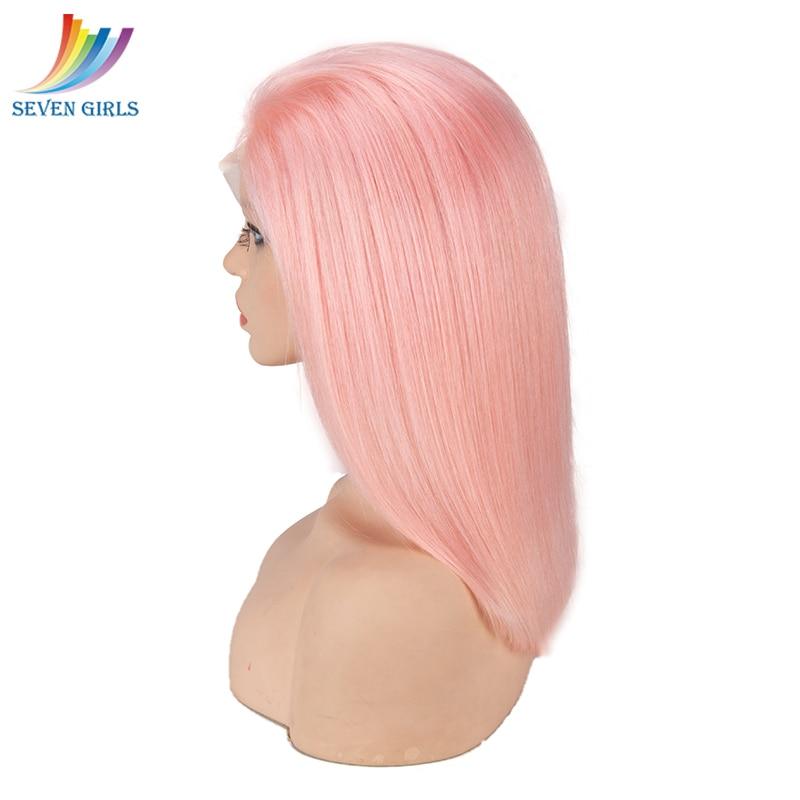Sevengirls Pink Wig Straight Full Lace Human Hair Wigs Malaysian Virgin Hair Glueless Short BOB Wig With Baby Hair Free Shipping