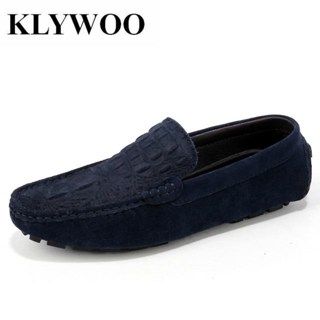 Zapatos cuero casual, zapatos moda hombres mocasines resbalón estilo barco de conducción.