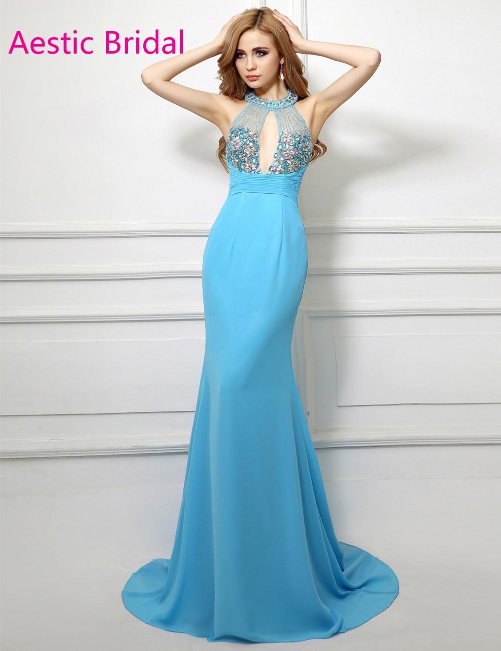 Imported Party Dress Aqua Blue Mermaid Halter Neck Beaded Bodice ...