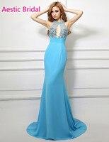 Imported Party Dress Aqua Blue Mermaid Halter Neck Beaded Bodice Prom Dress With Open Back Vestidos De Festa