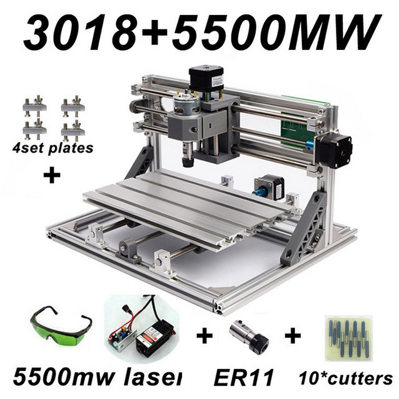 Mini CNC 3018 2418 1610 Engraving Machine with 5500mw Laser Head Wood Router PCB Milling Carving Machine DIY CNC with GRBL disassembled pack mini cnc 3018 pro 5500mw laser cnc engraving machine pcb milling machine wood carving machine
