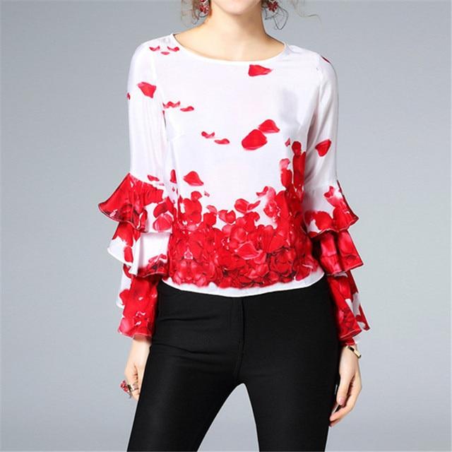 32172047c6 Primavera Mulheres Elegantes Camisas de Seda Blusa Estampa Floral 2018 Moda  O-pescoço Flor Vermelha