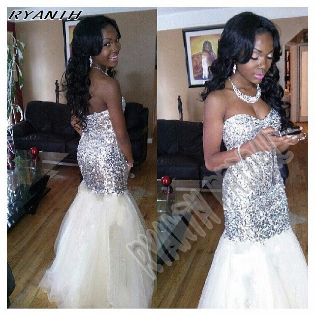 CYF53 Long Mermaid Prom Dresses 2016 New Arrival Silver Sequined White Tulle Evening Dress Formal Celebrity