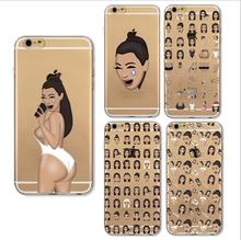 Funny Soft Clear Kim Kardashian Crying Face Emoji Case For iPhone 6 6s 6Plus 6s Plus 7 7Plus Ultrathin TPU Mobile Phone Shell