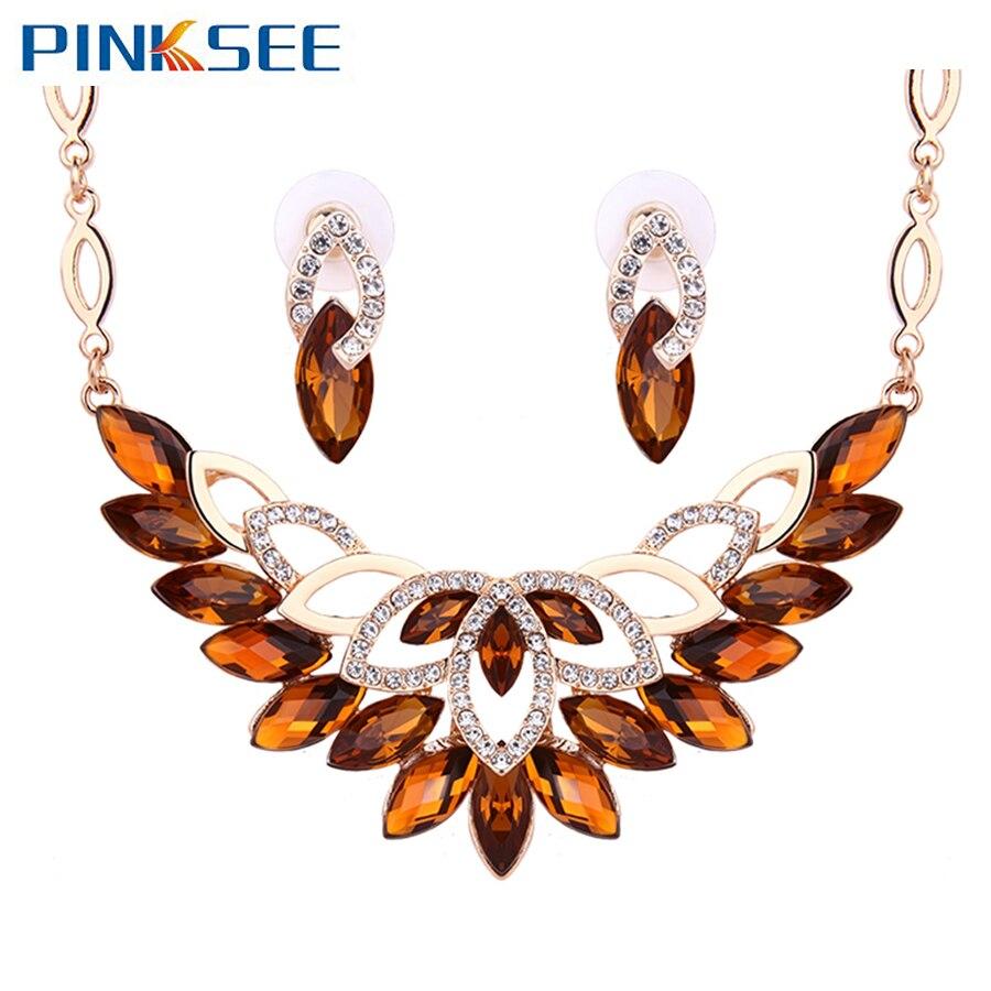 Women Bridal Wedding Jewellery Accessories Angle Shapes Rhinestone Pendant Neckl