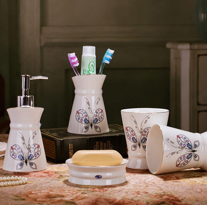 New bone china ceramic bathroom set five pieces bathroom for Bathroom collection sets