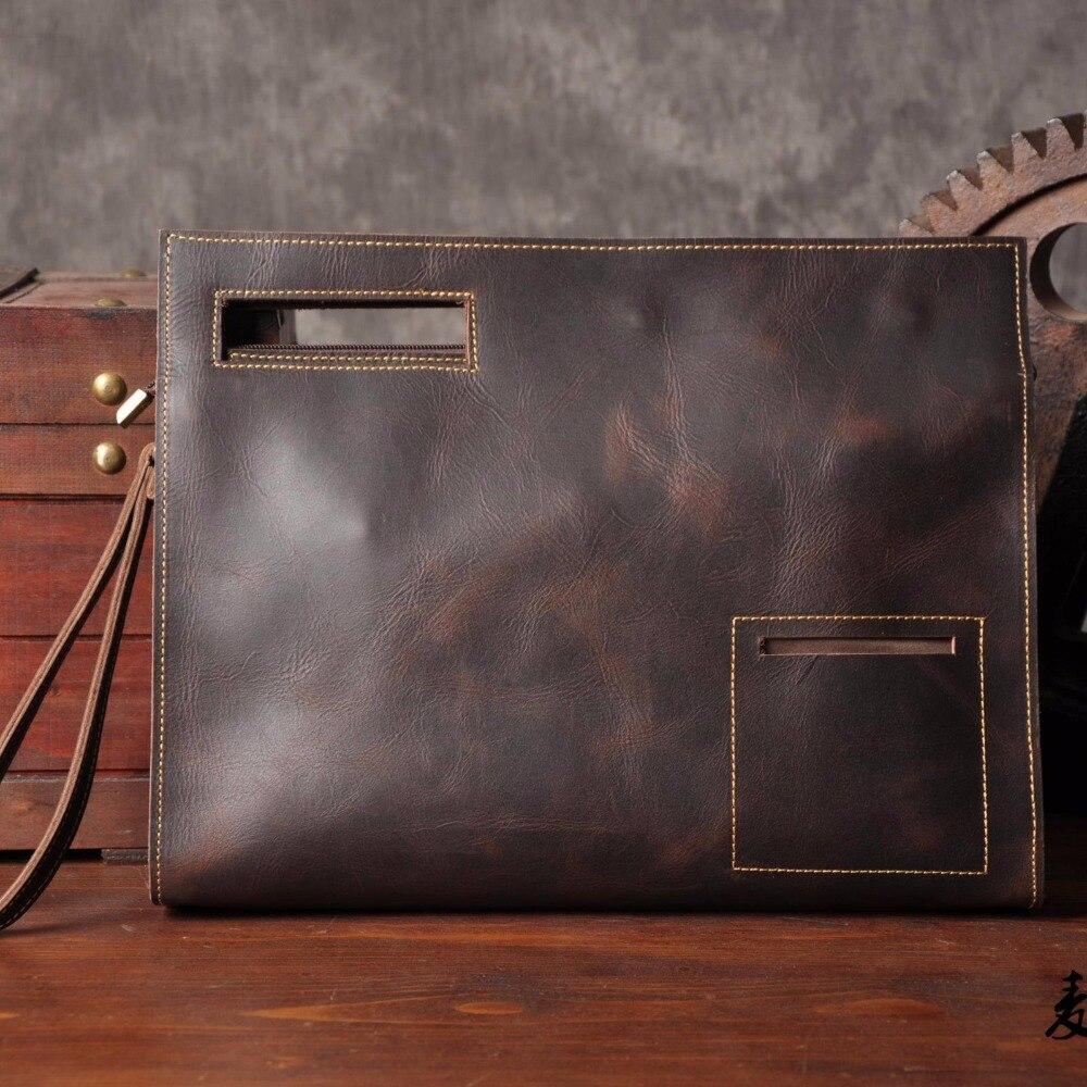 Offen Mann Crazy Horse Leder Handtasche Leder-umhängetasche A4 Dokumententasche Die Hülle Tasche Clip Paket Der Großen Kapazität Trend Xy059