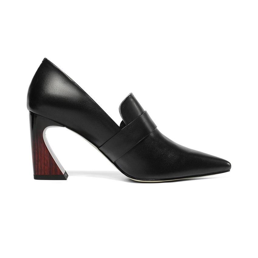 2019 Hauts En Bout Carré Beige Base Femmes Talons Style 43 noir De Polyuréthane 34 Pompes Chaussures Taille Escarpins Pointu Western Boucle Esveva pwBqd4B