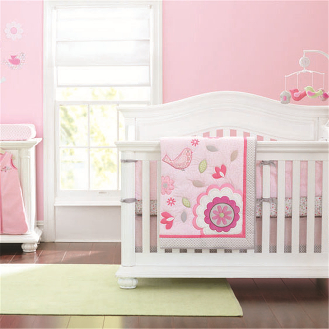 Moonpalace Girls Neutral Happy Bird Pink 4pcs Crib Bedding Set Featuring Pretty Flowers Floral Prints Light Pink Quilt Bumper