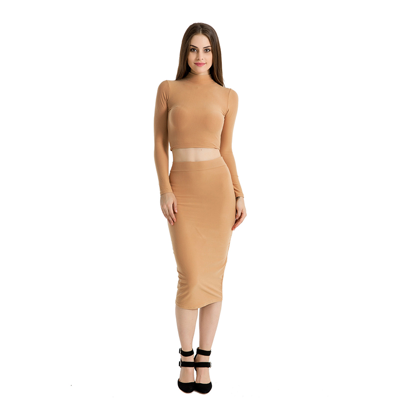 Women Long Sleeves Sexy Elastic force Polyester 2017 Turtleneck High Quality Slim Maxi Dress Crop Top Two Pieces Set